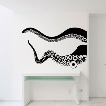 Wall Decal Kraken Octopus Tentacles Wall Decals Sea Ocean Animal Wall Decor- Living Room Kids Bedroom Bathroom Wall Art Home Decor 0057