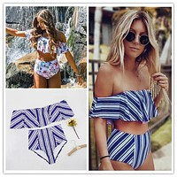 Sexy bikini Set High Waist Swimwear Women Striped Biquini Ruffled Swim Bathing Suit White Blue Swimsuit Vintage Bikinis