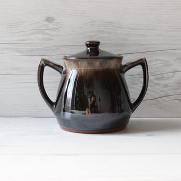 Vintage Dark Brown Ceramic Pottery Drip Sugar Bowl with Lid | Boho Bohemian Style
