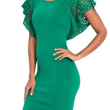 Green Hollow Out Cloak Sleeve Bodycon Mini Dress