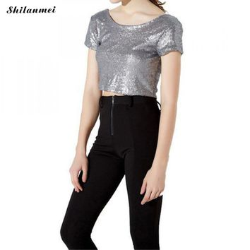 Shiny Sequin Crop Top Backless Summer Office ladies Chic Party short sleeve Cropped Sexy Women Tank Top solid short T-Shirts