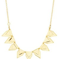 Gold Chevron-Embossed Spike Necklace by Charlotte Russe