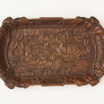 Vintage Ornate 1940s Syroco Wood Tray, Water Lilies Arts and Crafts Style Craftsman Wood Composite