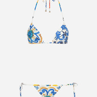 New Arrivals Women's Clothes | Dolce&Gabbana - PRINTED BIKINI WITH TRIANGLE BIKINI TOP