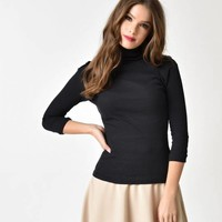 Black Turtleneck Cotton Stretch Knit Sweater Top