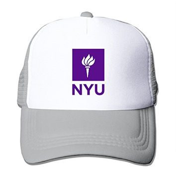 LIANBANG Nyu New York University Logo Adjustable Printing Snapback Mesh Hat Unisex Adult Baseball Mesh Cap Grey
