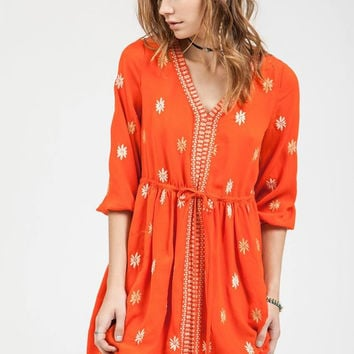 Red Orange Embroidered Dress