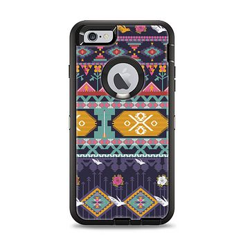 The Vector Purple and Colored Aztec pattern V4 Apple iPhone 6 Plus Otterbox Defender Case Skin Set