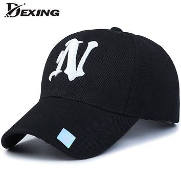 [Dexing]unisex fashion cotton baseball cap Black Adult  letter Casual  snapback  hats for men women BONE simple sports hat