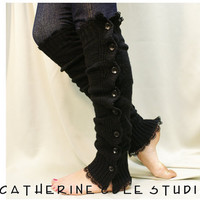 leg warmers Button down venise black  lace edged  for women great with or without boots by Catherine Cole Studio lace legwarmers leg warmers