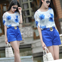 White Floral Print Ruched Sleeve Top and Blue Buttoned Bow Shorts
