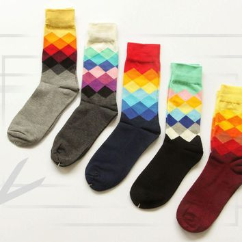 Harajuku Style Men Gradient Color Long Sock Novelty British Men's Knee High Business In Tube Socks