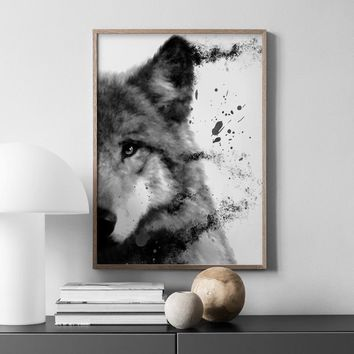 Watercolor Wolf Nordic Posters And Prints Wall Art Canvas Painting Animals Black White Wall Pictures For Living Room Home Decor