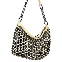 Trendy Studded Purse Fashion Slouch Bag Beige