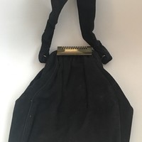 Vintage 1950's Black Wool Purse Handbag & Strap With Gold Metal Clasp Closure