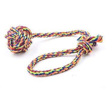 Colorful Chew Knot Rope Puppy Dog Pet Chew Toy Cotton Braided Bone Play Rope