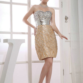 Custom Handmade Sweetheart Gold and Silver Crystal Sequin Sexy Short Prom/Evening/Party/Bridesmaid/Cocktail/Homecoming Dress Gown
