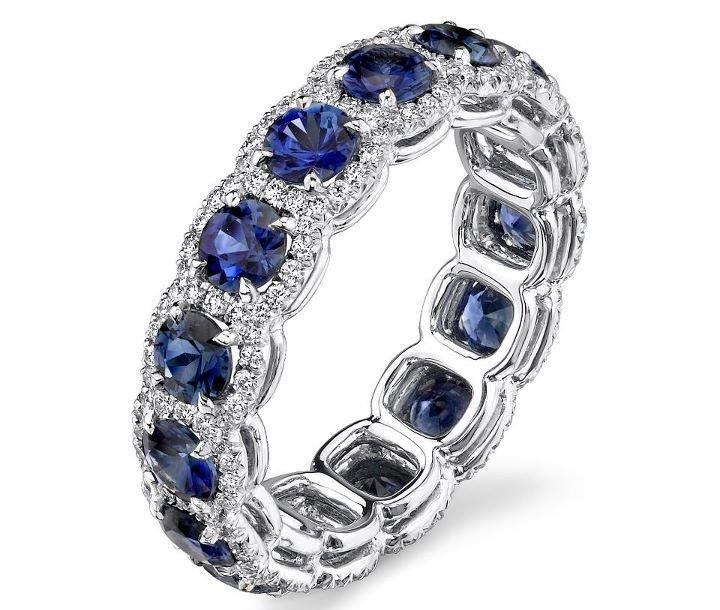 Halo Anniversary Bands: Blue Sapphire Diamond Halo From MDC Diamonds