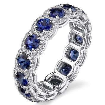 Wedding Band - Blue Sapphire Diamond Halo Wedding-Anniversary Ring in 14K White Gold