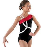 NEW Red White Black Foil Dot Stones Dance Gymnastics Leotard Child Sizes