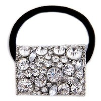 Silver Plated diamond Crystal Rhinestone Girl Hair Tie Band Ponytail Holder T1