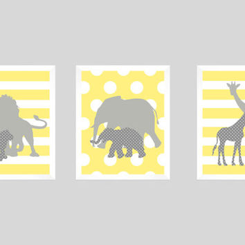 Safari Animals Yellow and Gray Print, Boy Nursery, CUSTOMIZE YOUR COLORS, 8x10 Prints, set of 3, nursery decor nursery print art baby decor