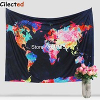 New World Map Printed Mandala Tapestry Wall Hanging Hippie Tapestry Cotton and Polyester Bedsheet Boho Wall Home Decor Tapestry