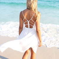 Open Waters White Lace Sequin Hi Low Dress
