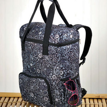 Oversized Insulated Cooler Backpacks. Holds 2 Dozen 12 Ounce Cans. Paisley Design.