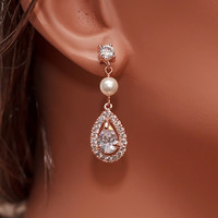 Rose Gold Bridal Earrings, Wedding Crystal Earrings, CZ Earrings, Drop Earrings, Bridesmaids Earrings, Crystal Earrings, Pearl Earrings