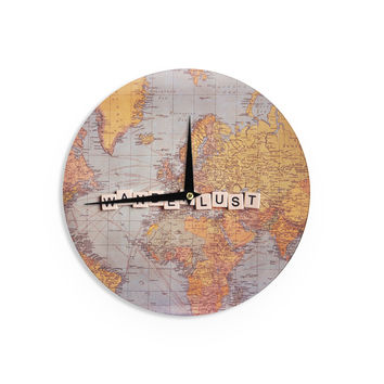 "Sylvia Cook ""Wanderlust Map"" World Wall Clock"