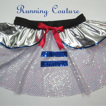 R2D2 Star wars inspired Sparkle Running Misses circle skirt Princess Leia