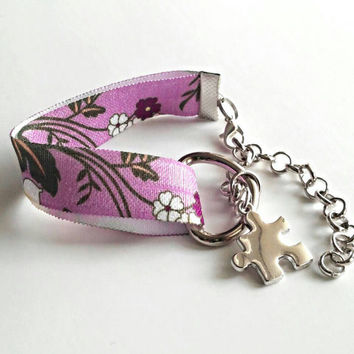 Autism awareness stretch band flower print bracelet, autism jewelry, puzzle bracelet, autism mom, teacher gifts