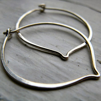 Small leaf hoops in sterling silver