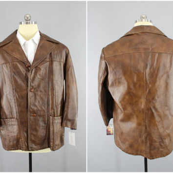 Vintage 1970s Leather Coat / 70s Men's Car Coat / REED / Brown Leather Jacket / Gangster Jacket / Mobster Coat / Badass Jacket