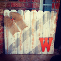 Custom Rustic Front Porch Sign, Hand Painted Initial Door Sign, Burlap Wall Hanging, Burnt Orange Wall Hanging, Reclaimed Wood Sign