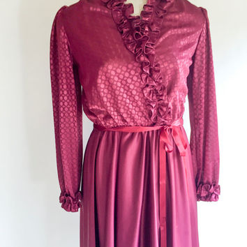 Vintage Dress Burgundy Dress Polka Dot Dress Ruffle Dress Sheer Dress 1960s Dress Secretary Dress Christmas Dress Party Dress