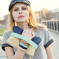 Clutch bag CarryMe, navy blue beige, vegan leather