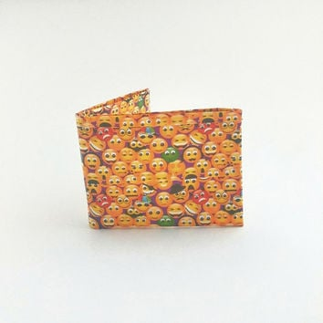 Fun Emoji Duct Tape Wallet, Yellow Men's Bifold Wallet, Cool Boy's Billfold, Small Pocket Wallet, Unique Novelty Gifts, One Of a Kind