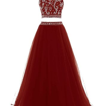 eDressit Women's Two Piece Tulle Prom Dress Beaded Bodice Evening Gown