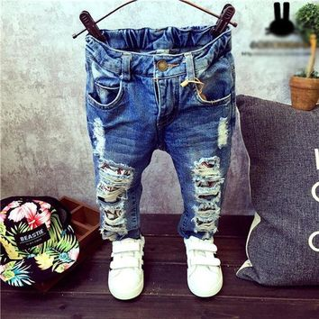 DCCKL3Z Children Broken Hole Pants Trousers 2016 Baby Boys Girls Jeans Brand Fashion Autumn 2-7Yrs Kids Trousers Children Clothing ZJ04
