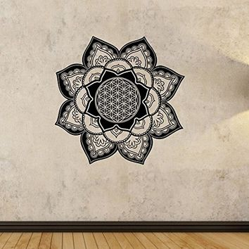 Flower of Life Mandala Wall Decal Vinyl Art Home Decor Good Vibes Namaste Yoga