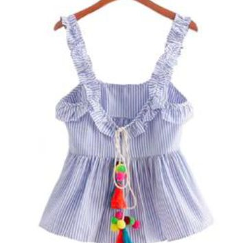 'Opal' Tassel and Pom Pom Frilly Shoulder Strap Striped Peplum Top