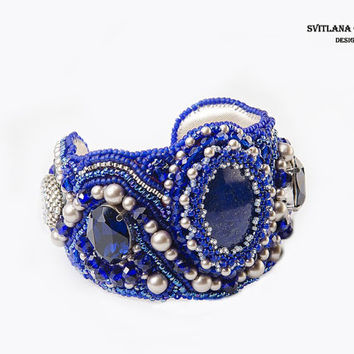 Bracelet Bead Embroidered with  lapis lazuli / Jewelry Blue/ Cuff / Bead Embroidery Bracelet gift  for her/ natural stone/ Wide bracelet
