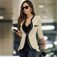 2014 New Fashion Winter Women Slim Blazer Coat Casual Jackets Long Sleeve V-Neck Black White One Button Suit OL Outerwear