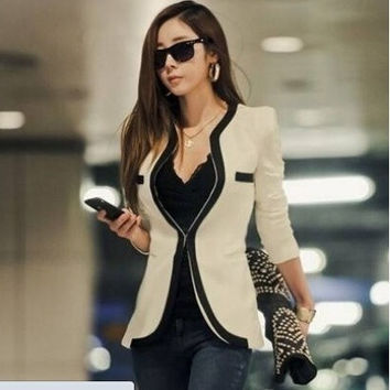 2014 New Fashion Winter Women Slim Blazer Coat Casual Jackets Long Sleeve V-Neck Black White One Button Suit OL Outerwear = 1919996804