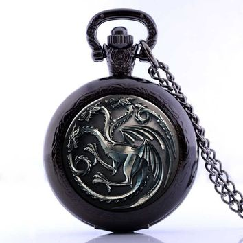 """New Antique House Targaryen """"Fire and Blood"""" A Song of Ice and Fire The Game of Thrones Pocket Watch  Necklace"""