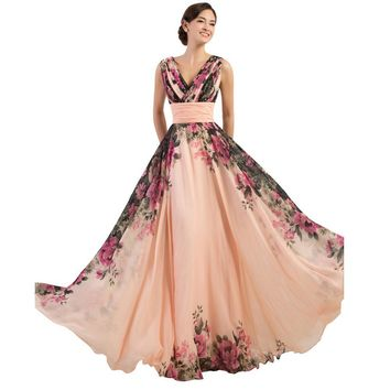 3 Designs Evening Dresses Stock One Shoulder Flower Pattern Floral Print Chiffon Evening Dress Gown Party Long Prom dresses
