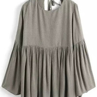 Grey Bell Sleeve Pleated Loose Fitting Blouse with keyhole Back Detail