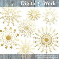 """Gold Clipart: """"Gold Snowflake"""" Digital clipart for commercial use - Christmas clip art - Digital Snowflake in gold - Gold christmas clipart"""